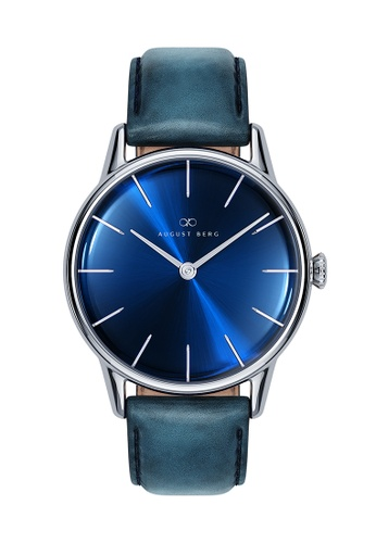 August Berg blue SERENITY DEEP BLUE Silver Classic Blue Leather 32mm 7FFE0AC3F9080EGS_1
