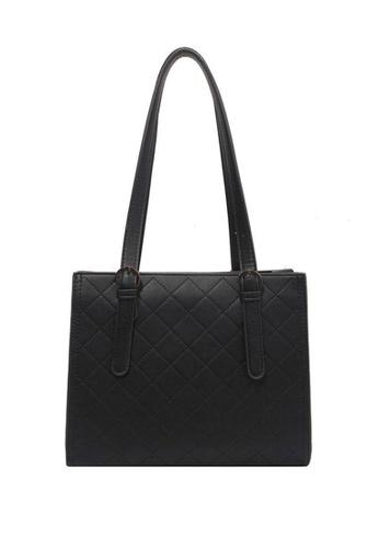 Lara black Women's Rhombic Embossed Leather Zipper Tote Bag - Black 042BFAC58A8854GS_1
