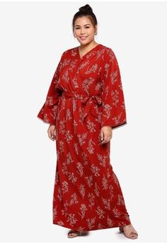 126ed10812 Sizes XXL XXXL XXXXL XXXXXL. Lubna red and beige Wrap Dress with Belt  D9280AABCB8E6FGS_1