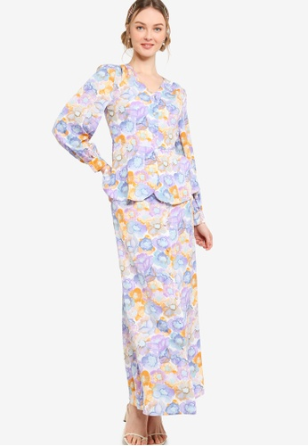 Lubna 綠色 and 藍色 Vintage Front Button Kurung 0A805AA5533A21GS_1