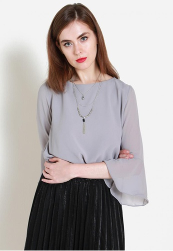Sophialuv grey Bells Be Ringing Chiffon Top in Grey 6D2E7AA296E3F6GS_1