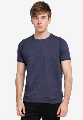 Penshoppe navy Boxy Tee With Raw Edge Effect PE124AA0SN1SMY_1