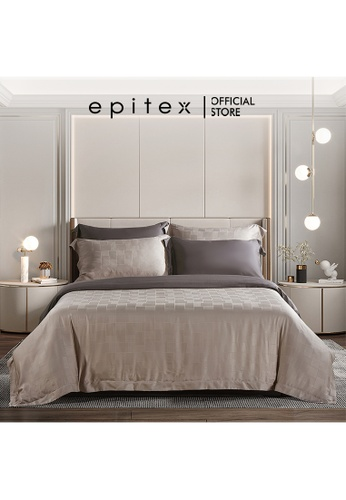 Epitex brown Epitex 1600TC MJ3027 Reversible Bedset - Bedsheet - Quilt Cover Set - Fitted Sheet Set (w quilt cover) 75CE2HLC41E171GS_1