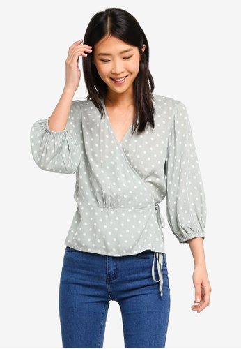 ZALORA BASICS multi Basic Puff Sleeves Wrap Blouse 20A2DAA1AA697EGS_1