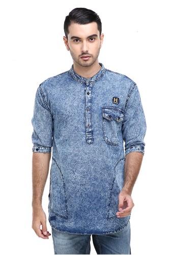 Hamlin blue Dwan Shirt Jeans Sandwash Pria Kasual Lengan Panjang Material Denim ORIGINAL BA592AA7053E98GS_1