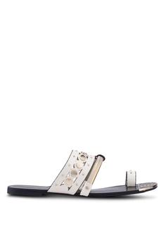 43123cfc1f8b River Island white Gold Tone Trim Toe Ring Sandals 2FA63SH18D674CGS_1