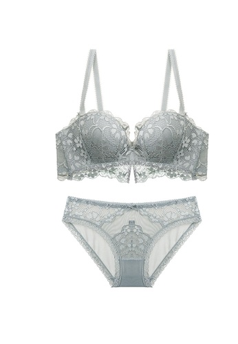 ZITIQUE grey Lace Lingerie Set (Bra And Underwear) - Grey C466CUSE53643FGS_1