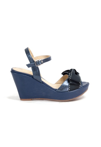 Shu Talk navy Ribbon Bow Wedge Sandal Heels with Ankle Straps 9A9CBSH41F5B38GS_1