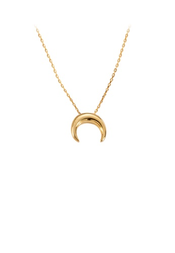 Glamorousky silver 925 Sterling Silver Plated Gold Simple Fashion Moon Pendant with Necklace 4BB44ACC9ED3F3GS_1