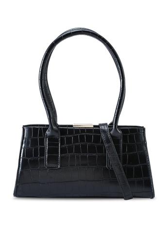 Red's Revenge black Claudia Croc Oblong Top Handle Bag 3A28BAC11E6DE9GS_1