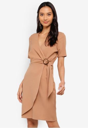 Dorothy Perkins 褐色 綁帶洋裝 9DB0BAA8EC791DGS_1