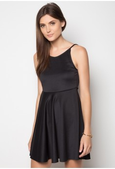 Deep V Neoprene Skater Dress