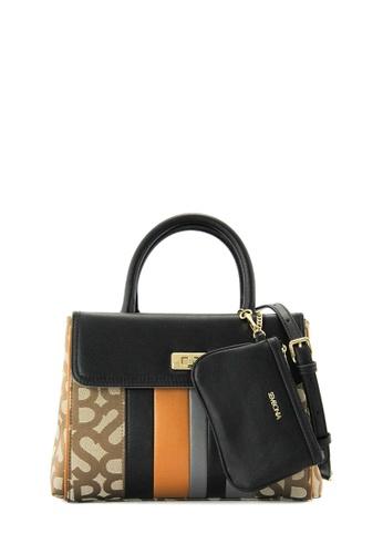 SEMBONIA brown Retromedia Initial Jacquard Fabric Tote Bag (Khaki) SE598AC0RWLJMY_1