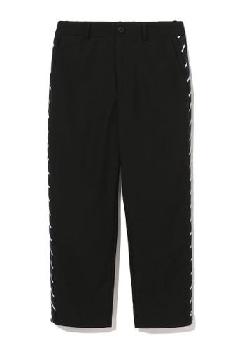 tout à coup black Striped trim trousers 8A672AA1661E12GS_1