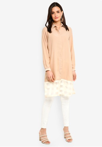 Gene Martino beige Long Muslimah Top 5E7C8AAFEE9EA2GS_1