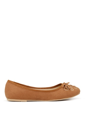 London Rag brown Tan Ballerina Flats with Bow SH1701 D27F0SH5C9067AGS_1