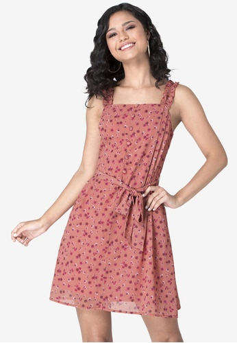 FabAlley pink Coral Strappy Belted Ruffle Dress 0E9DBAAE785571GS_1