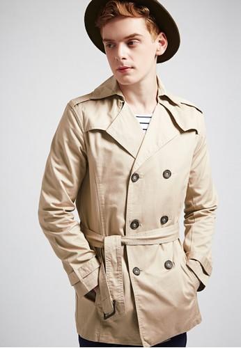 經典紳士。純棉斜esprit 床上用品紋。長版雙排釦風衣外套-03697-卡其, 服飾, 外套