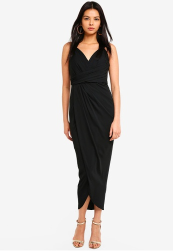 Forever New black Charlotte Drape Maxi Dress 10E2BAA516F891GS_1