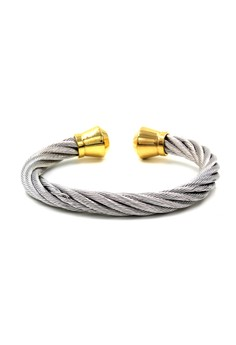 Venice Eilise Thick Silver Cable Wire Gold End Cuff Bracelet