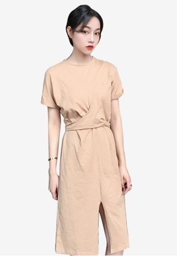 Lara beige Round Neckline Short sleeves Slits One piece Dress D9761AA6AB88E7GS_1