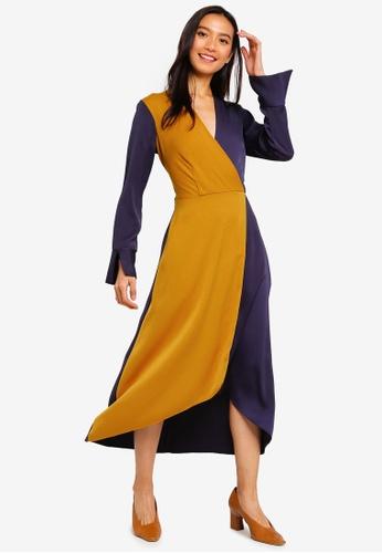 CLOSET 黃色 撞色綁帶洋裝 579FAAA8C5DC59GS_1