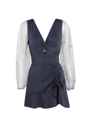 Its Me navy Retro Gauze Stitching One-Piece Swimsuit 5296EUS9D9D497GS_1