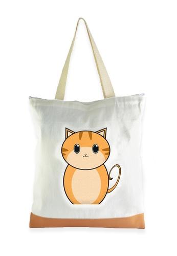 Myriad Print Concepts white Tote Bag Orange Cat MY418AC18WLTPH_1