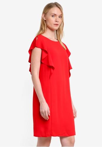 Wallis red Red Frill Dress WA800AA0RQJHMY_1