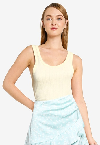 Cotton On yellow Little Sister Pointelle Tank Top 3E994AA83B8471GS_1