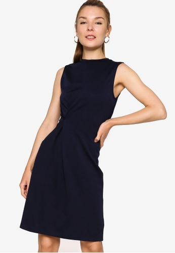 ZALORA WORK navy Pinched Waist Dress D5EB1AAA23BE98GS_1