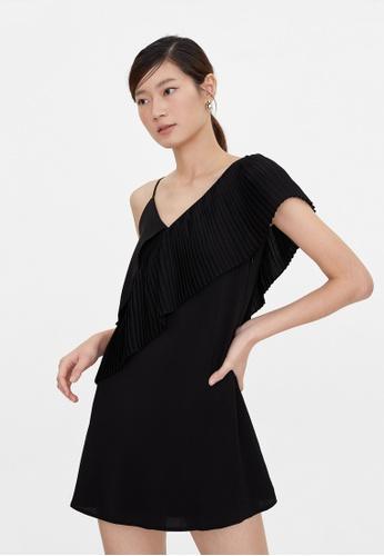 Pomelo black Pleated One Shoulder Strap Dress - Black 4DBF9AAA4B3584GS_1