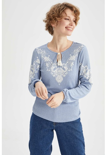 DeFacto blue Long Sleeve Blouse C0B75AA7176933GS_1