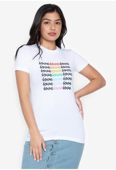 0c49b24cac5f79 Wear Kris white Love Love Love Rainbow Crew Neck Tee C0A1FAA67626E1GS 1