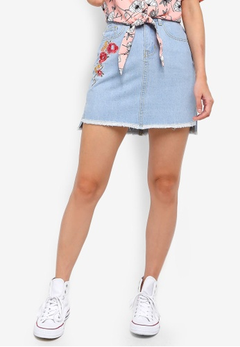 Something Borrowed blue Embroidered High Low Hem Denim Skirt 17381AA805F0A9GS_1