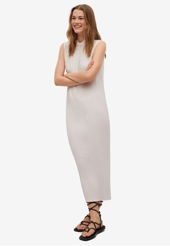 Mango white Pleated Midi Dress 2B3A6AA9471461GS_1
