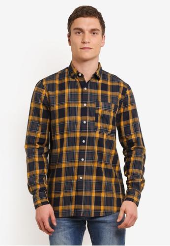 Topman navy Yellow And Navy Checkered Shirt TO413AA0SC22MY_1
