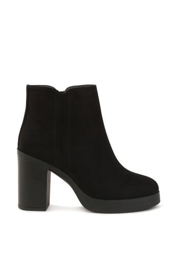 London Rag black Stacked Heel Zipper Boots 208EASHCAF093AGS_1