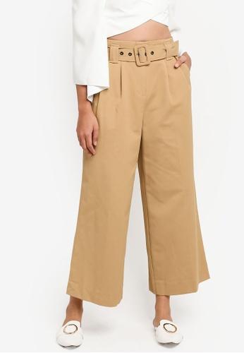 TOPSHOP beige Belted Wide Leg Trousers 02C85AA3C629C6GS_1