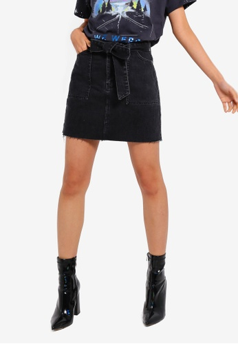 TOPSHOP 黑色 Belted Utility Denim Skirt 83C26AA8464E5FGS_1