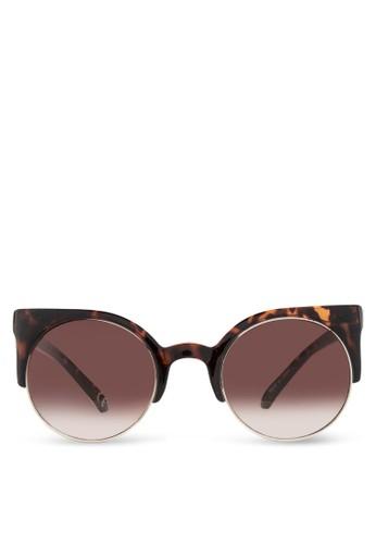 JP291 印花貓眼太陽眼鏡, 飾品zalora taiwan 時尚購物網配件, 飾品配件