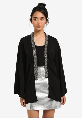 Something Borrowed black Embellished Kimono 92769AAC62C160GS_1