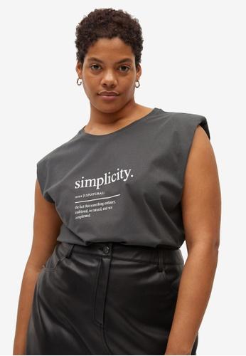 Violeta by MANGO grey Plus Size Sleeveless Print T-Shirt 4F326AA29E122BGS_1