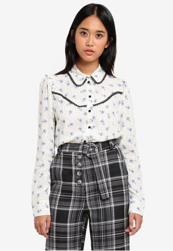 TOPSHOP blue Floral Spot Shirt 54508AAE7B05F8GS_1