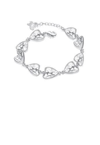 Glamorousky silver Fashion Simple Heart-shaped Hollow Bracelet 99562ACEDE978AGS_1