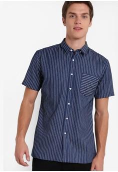 ZALORA-對比色條紋短袖襯衫