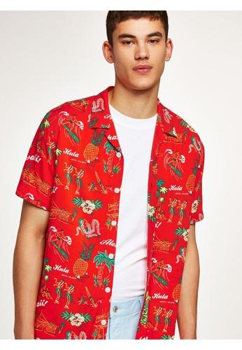 Topman red Red Hawaiian Short Sleeve Shirt 71368AAADC1C93GS_1