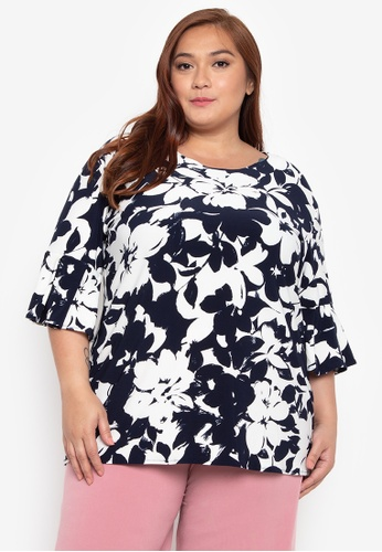 Ashley Collection Plus multi Plus Size Fab Style Flared Sleeves Top AS083AA0JRK4PH_1
