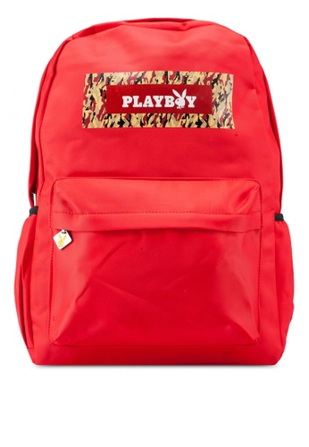 Playboy red Printed Backpack 00F34AC9CD28E6GS_1