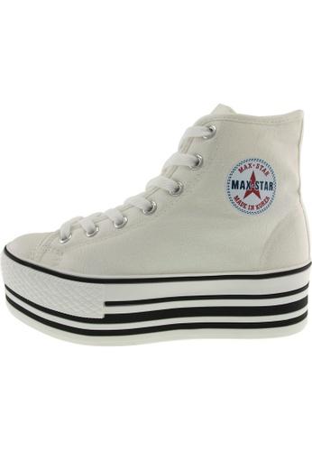 Maxstar 白色 新款韩国鞋C50-7H-Stripe時尚帆布布混合女白色 US Women Size MA345SH50GVDTW_1